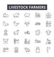 Livestock farmers line icons signs set