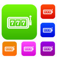 lucky seven on slot machine set collection vector image vector image