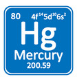 periodic table element mercury icon vector image vector image