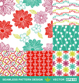 Retro backgrounds flowers geometric ornaments vector image