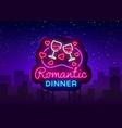 romantic dinner neon logo wine neon sign vector image vector image