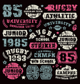 rugby team typographic elements vector image vector image
