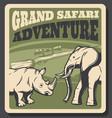 safari animal retro poster hunting sport design vector image vector image