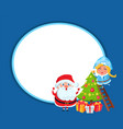 santa claus with granddaughter and christmas tree vector image vector image