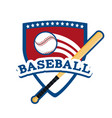 shield sticker to baseball sport game vector image vector image