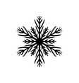 simple black hand-drawn icon of a snowflake vector image vector image