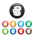 stack of tire icons set color vector image