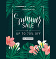 summer sale tropical banner poster with vector image vector image