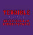 terrible alphabet halloween stylized 3d font vector image vector image