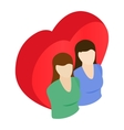Two female and red heart isometric 3d icon vector image vector image