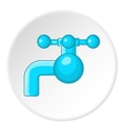 Water tap with knob icon cartoon style