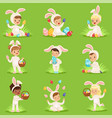 easter set with eggs and children in bunny vector image