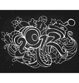 happy new year and christmas doodles vector image