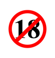 sign up to eighteen years of age is prohibited vector image