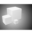 3d abstract background three white cube vector image
