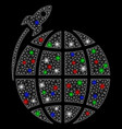bright mesh network planet satellite launch with vector image vector image