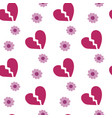 broken heart on white background seamless pattern vector image vector image