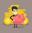 business man holding big piggy bank vector image vector image