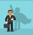 businessman and shadow a superhero vector image vector image