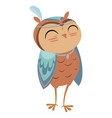 cartoon owl indian a cute vector image