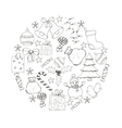 Christmas and new year hand drawn icons set vector image