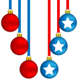 Christmas balls in US colors vector image vector image