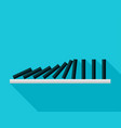 falling black dominoes on blue background vector image vector image