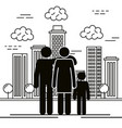 father and mother with son silhouettes vector image