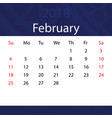 february 2018 calendar popular blue premium for vector image vector image