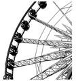 ferris wheel in black on white background vector image