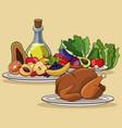 food menu chicken fruit vegetable image vector image