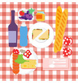 food set for summer picnic with tablecloth with vector image vector image