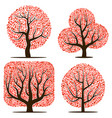 four trees with red leaves vector image vector image