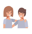 friendly teenagers couple characters vector image