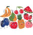 funny fruit characters set banana plum pear vector image vector image