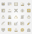 ghostwriter and writing colorful icons vector image vector image