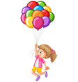 girl and colorful balloons vector image vector image