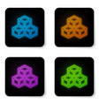 glowing neon isometric cube icon isolated on vector image
