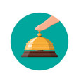 golden service bell and hand vector image