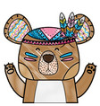 grated cute bear animal with feathers decoration vector image vector image