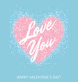 greeting card with pastel pink glitter heart and vector image vector image