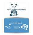 grooming of dogs and cats business card vector image vector image
