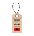 hang tag made in albania with flag icon isolated vector image
