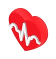 Heartbeat isometric 3d icon vector image