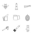 honey commodity icons set outline style vector image