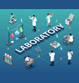isometric laboratory flowchart composition vector image vector image