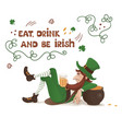 leprechaun with a beer lying leaning on a pot of vector image vector image
