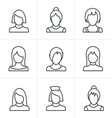 Line Icons Style Woman Icons Set Design vector image vector image