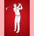 man swinging golf golf players action cartoon vector image