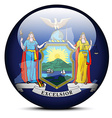 Map on flag button of USA New York State vector image